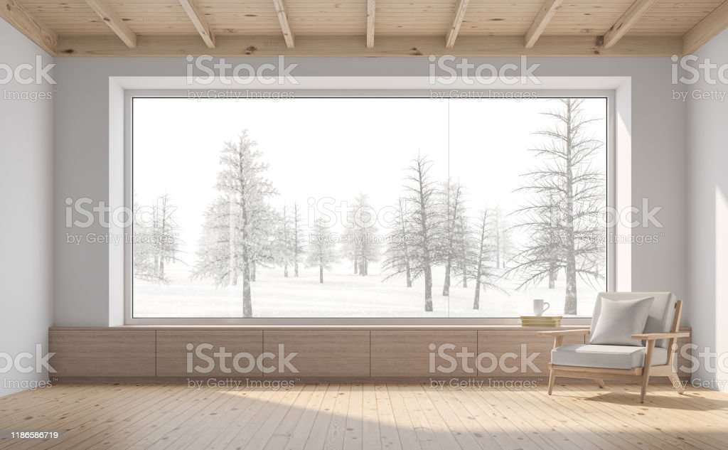 Empty room with snow scene background 3d render Empty room with snow scene background 3d render,There are white wall,wooden floor and ceiling,wood seat,decorate with fabric chair.There are big  windows look out to see nature view. Apartment Stock Photo