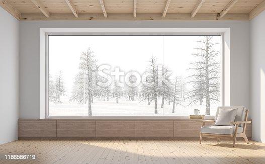 1136239089 istock photo Empty room with snow scene background 3d render 1186586719