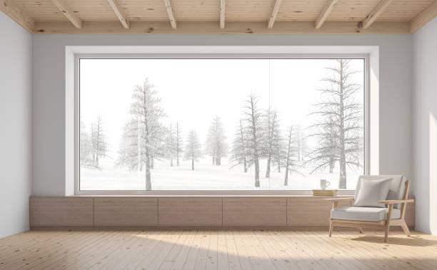 Leeres Zimmer mit Schneeszene Hintergrund 3D Gerendern – Foto