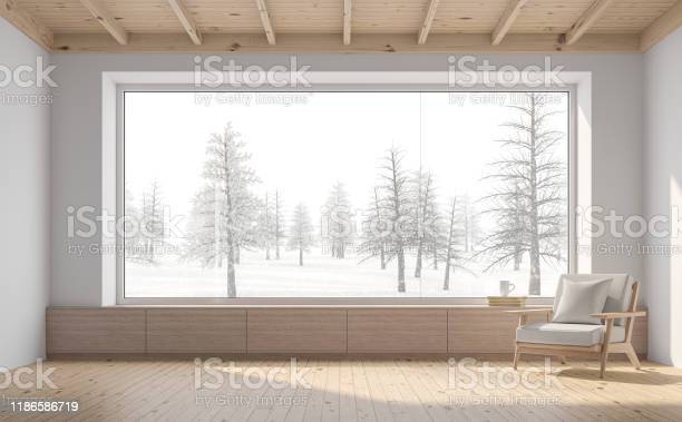 Empty Room With Snow Scene Background 3d Render Stock Photo - Download Image Now