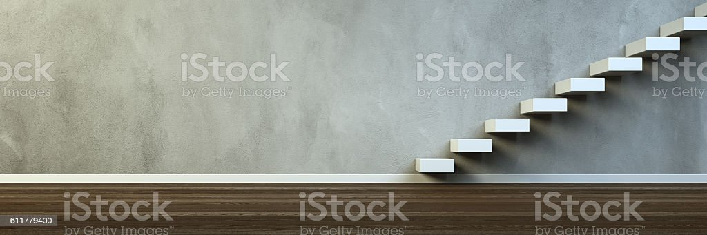Empty room with steps on the concrete wall stock photo
