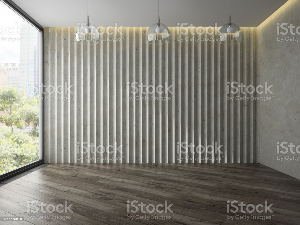 Empty room with tree glass lamps 3D rendering stock photo