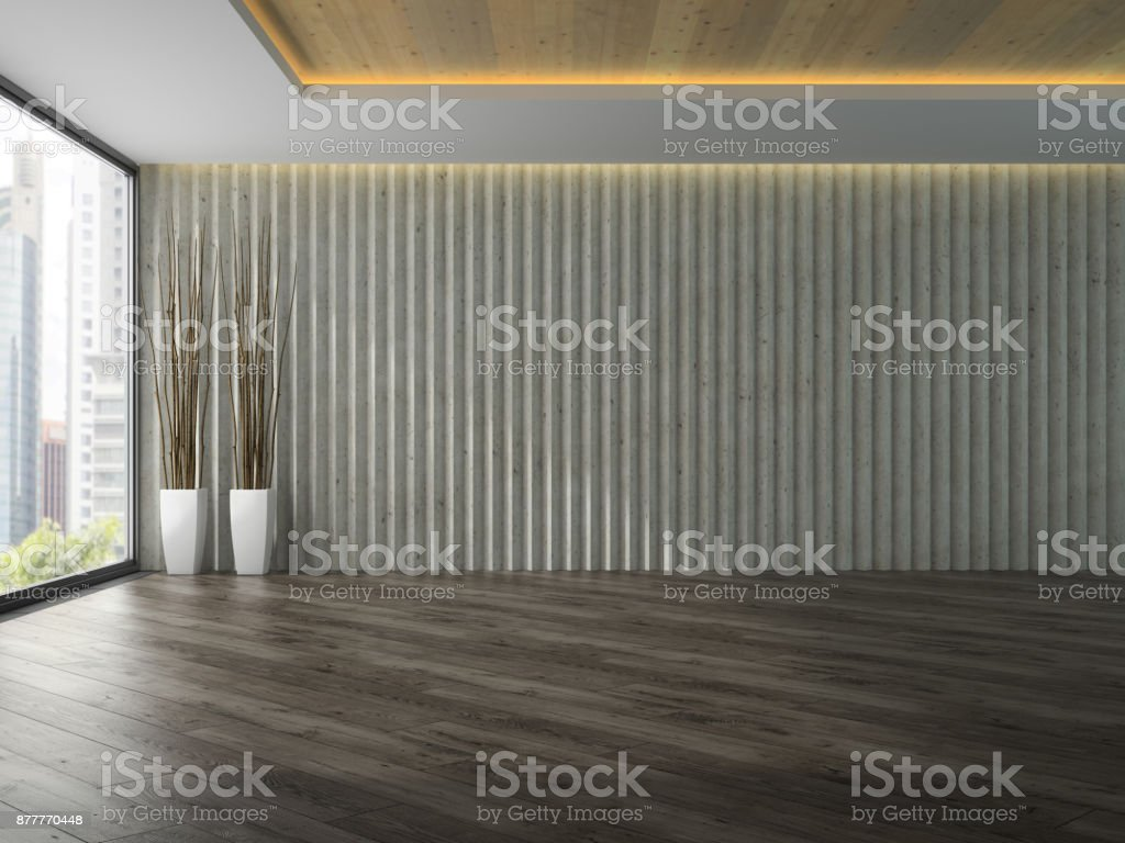Empty room with two white vase 3D rendering stock photo