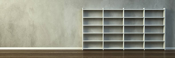 Empty room with wall shelf furniture stock photo