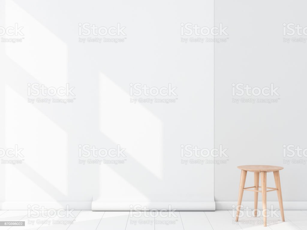 Empty Room With White Blank Wallpaper Roll Mockup Hanging On The Wall Chair Royalty