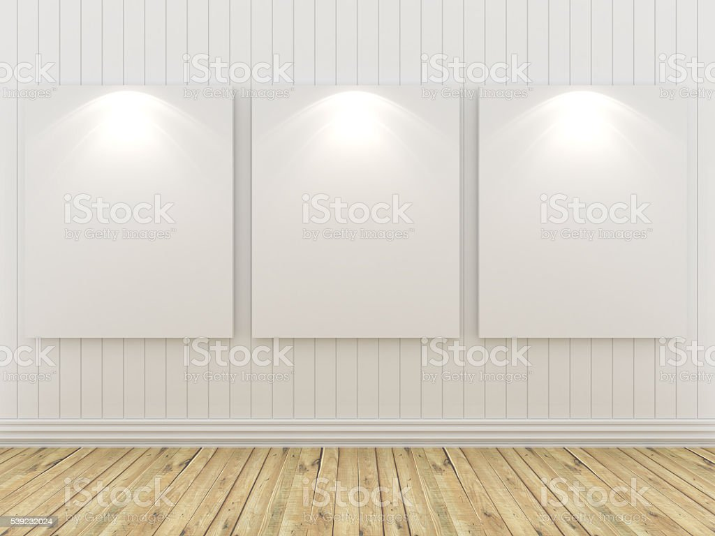 Empty room with white canvas royalty-free stock photo