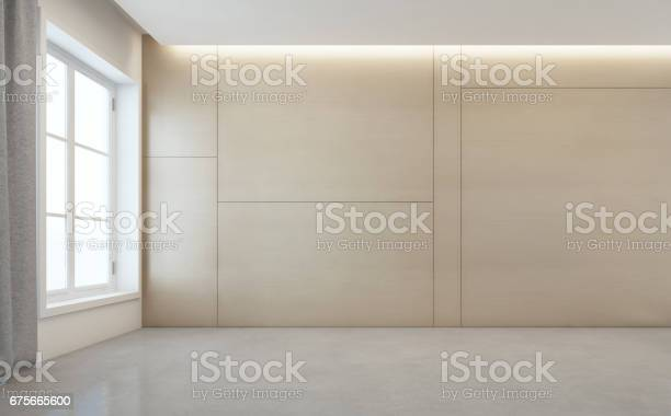 Empty room with white concrete floor and wooden wall background in picture id675665600?b=1&k=6&m=675665600&s=612x612&h=kqmchbtlu uivnzpaytdnlktoqpm4fsyvuipusg8gce=