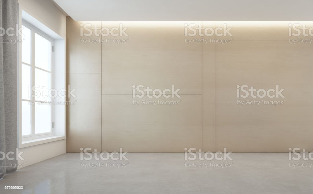 Empty room with white concrete floor and wooden wall background in modern house stock photo