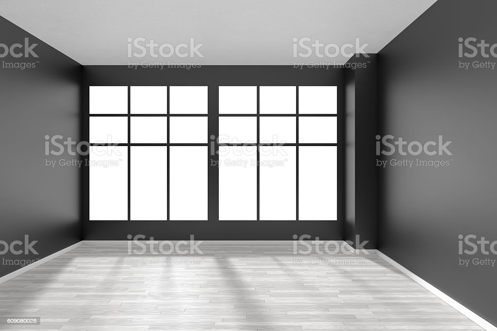 Blanc Chambre Vide Avec Sol En Parquet, De Murs Et De Fenêtre Noir Photo  Libre