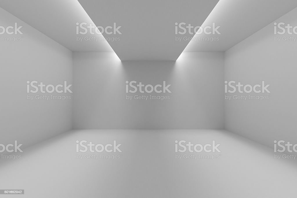 Empty room with white walls and lights in ceiling stock photo