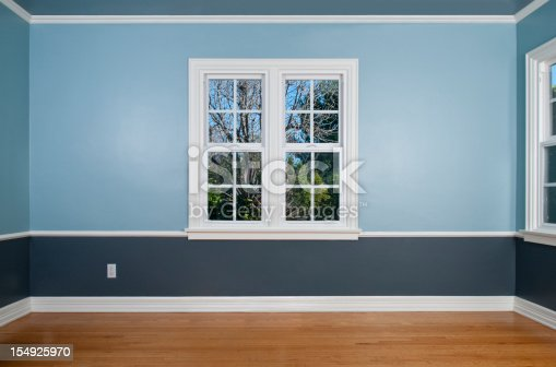 Empty room with window with view, wood flooring, blue wainscoting and a power outlet.