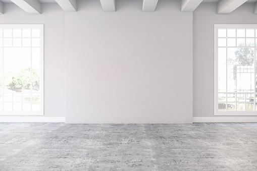 Empty Room with Windows. 3D Render