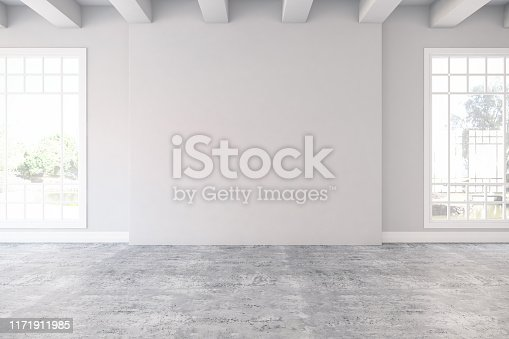 Empty Room with Windows. 3D Render
