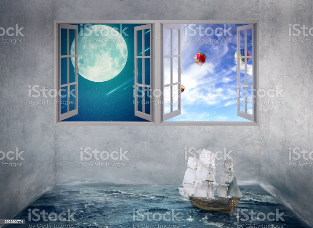 Empty Room With Wood Floors Two Windows Night Sky Moonlight And Daylight Royalty Free