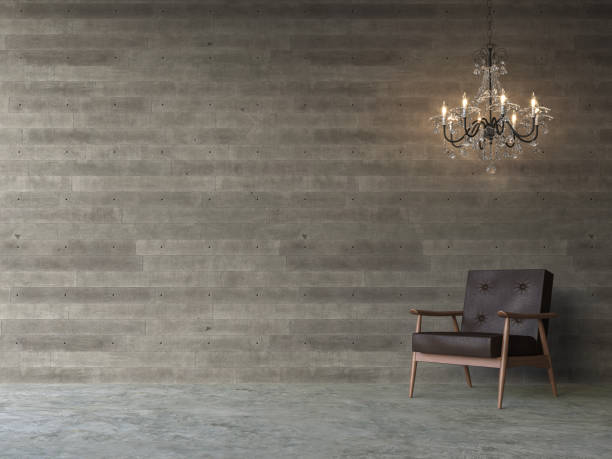 Empty room with wood plank stamped concrete walls 3d render stock photo