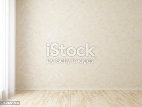 istock Empty room with wooden floor and beige wall 108688400