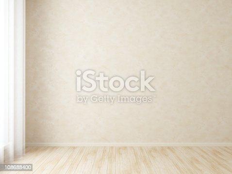 629801250istockphoto Empty room with wooden floor and beige wall 108688400