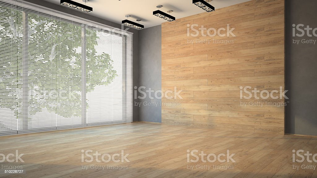Vider la chambre avec bois mur 3D photo libre de droits