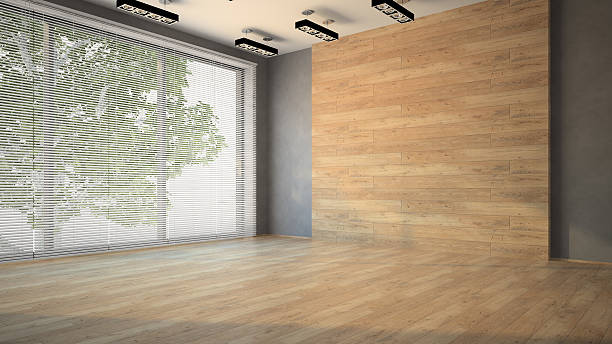 Empty room with wooden  wall 3D stock photo