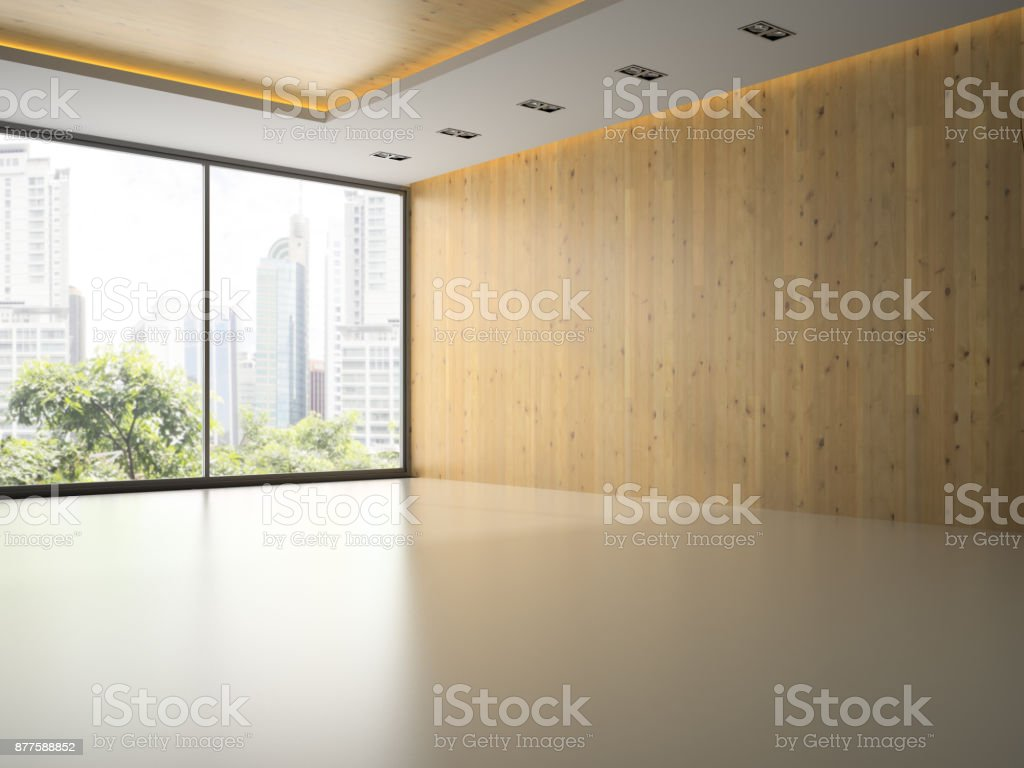 Empty room with wooden wall 3D rendering stock photo
