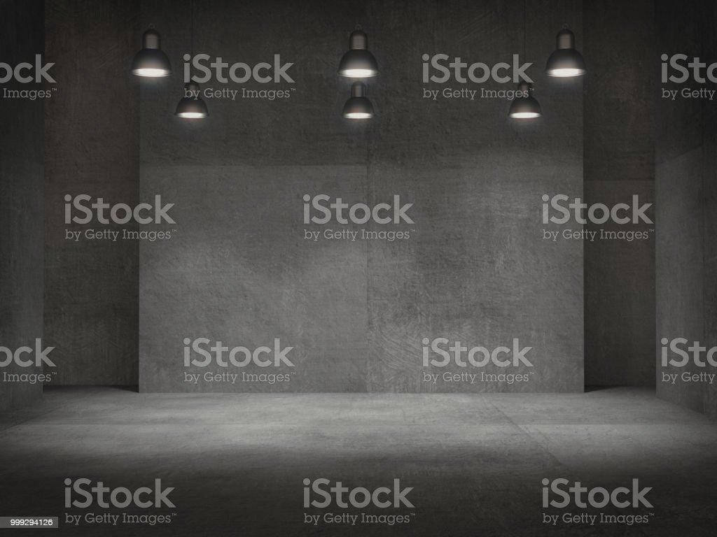Vider la salle, piédestal pour l'affichage, support de produit vide avec lampes spot .3D rendu la lumière. - Photo de Abstrait libre de droits