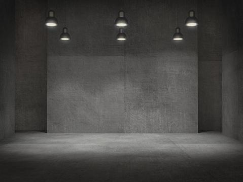 Photo libre de droit de Vider La Salle Piédestal Pour Laffichage Support De Produit Vide Avec Lampes Spot 3d Rendu La Lumière banque d'images et plus d'images libres de droit de Abstrait
