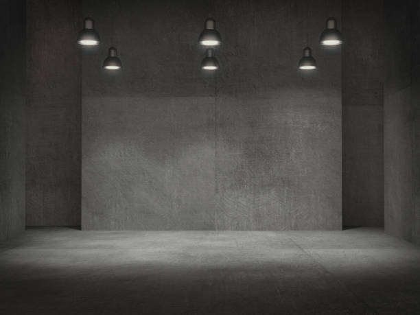 vider la salle, piédestal pour l'affichage, support de produit vide avec lampes spot .3d rendu la lumière. - architecture intérieure beton photos et images de collection
