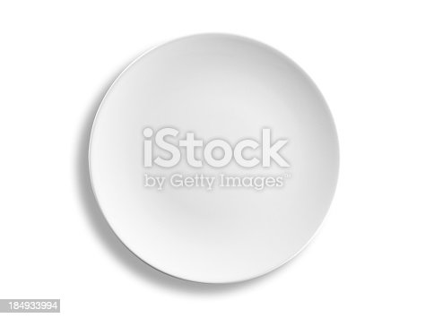 Empty round lunch or dinner plate isolated on white background, clipping path included, studio shot.