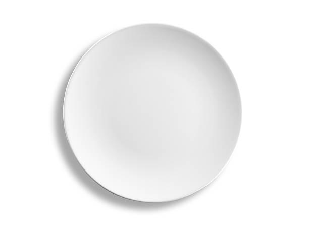 leere runde abendessen platte isoliert auf weißem hintergrund, clipping path - draufsicht stock-fotos und bilder