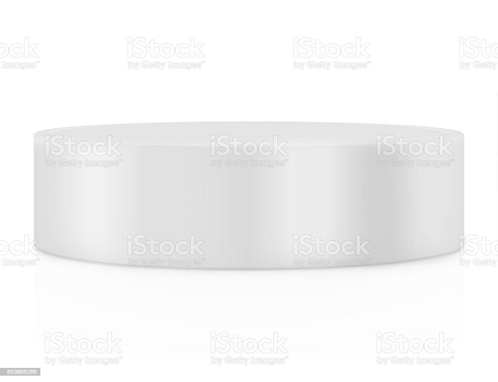Empty round pedestal for display. Platform design. 3D rendering stock photo