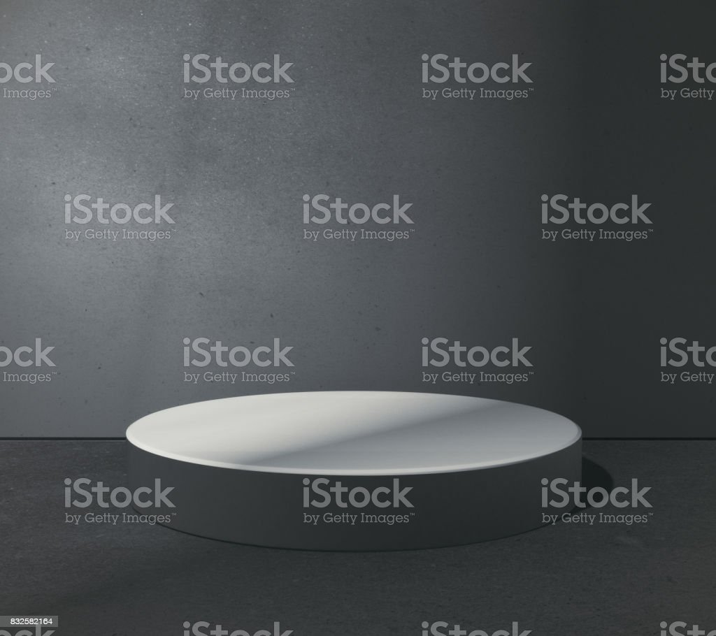 Empty round pedestal stock photo