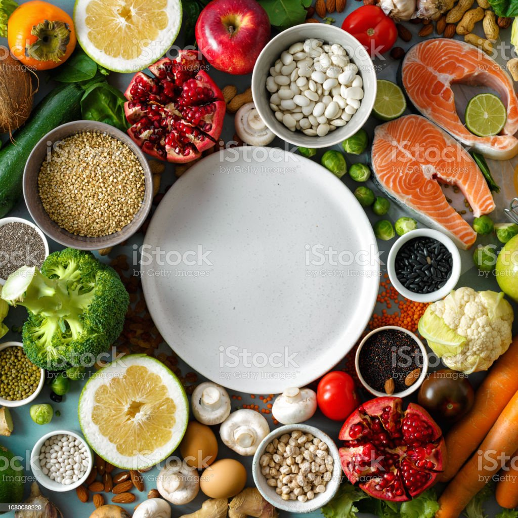 Empty round plate healthy diet food Healthy diet menu restaurant stock photo
