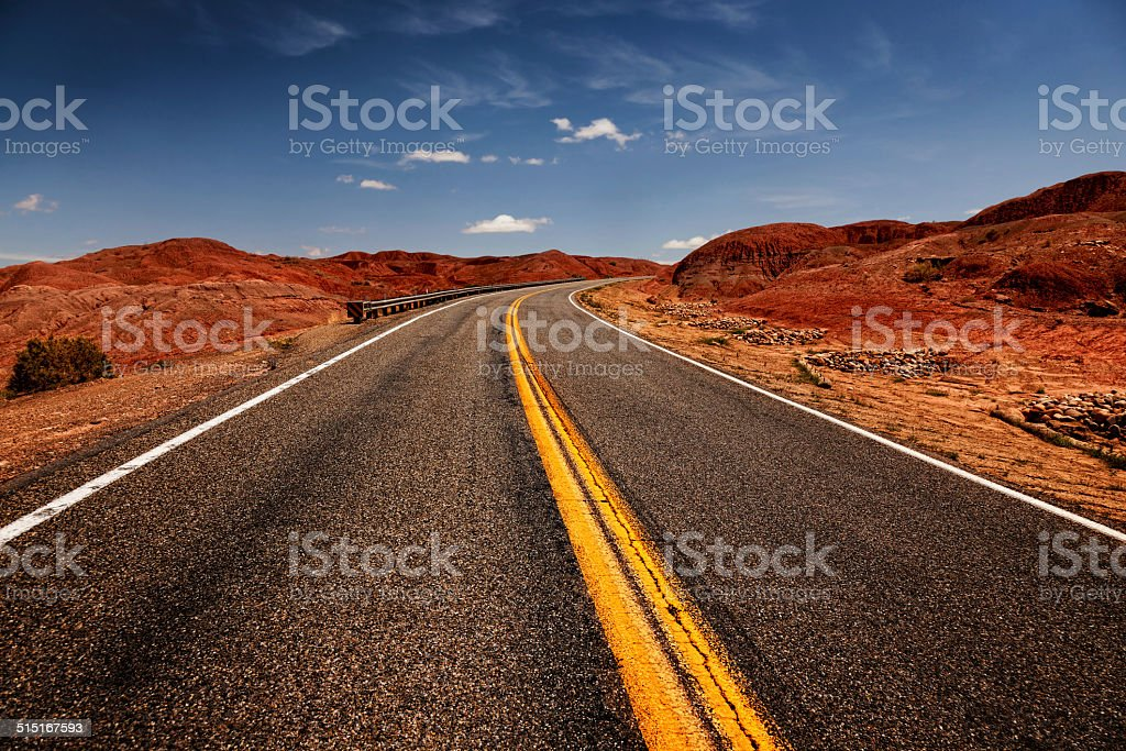 empty route 66 in Arizona stock photo