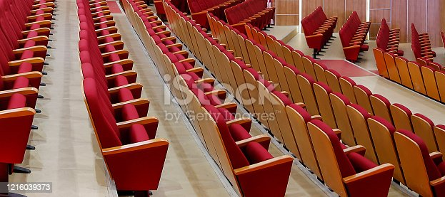 Empty rows of seats in theater,cinema,concert hall.