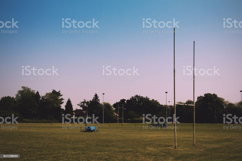 Empty rugby pitches in a local park Vintage Retro Filter. stock photo