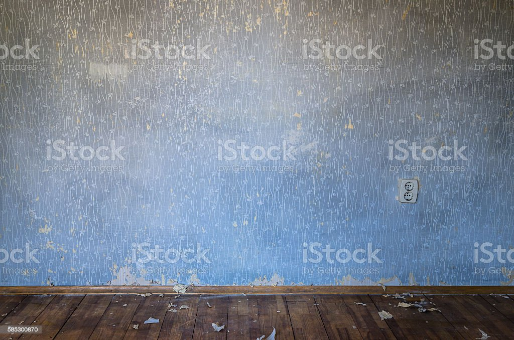 Empty run down room stock photo
