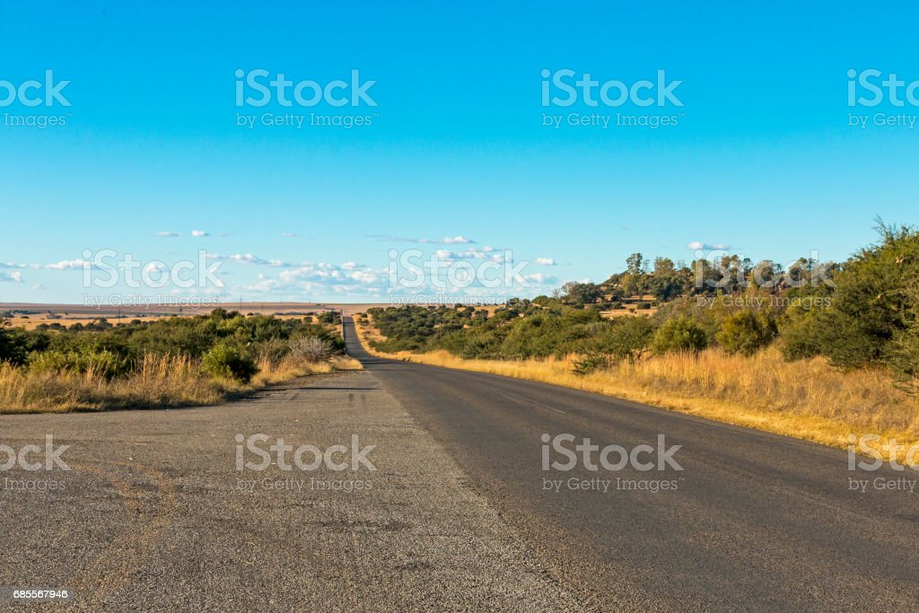 Empty Rural Asphalt Road Running Through Dry Winter Landscape 免版稅 stock photo