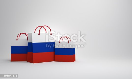 istock Empty Russian flag shopping bag in the studio lighting. 1151877373