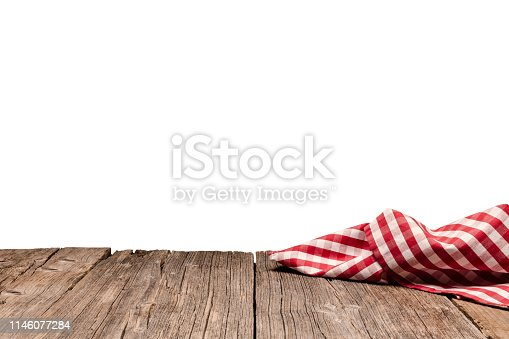 Backgrounds: eye view of an empty rustic wooden table with a crumpled red and white gingham cloth shot against white background. Ideal for background montage. Useful copy space available for text, logo or product montage. Predominant colors are brown and yellow. DSRL outdoors photo taken with Canon EOS 5D Mk II and Canon EF 24-105mm f/4L IS USM Wide Angle Zoom Lens