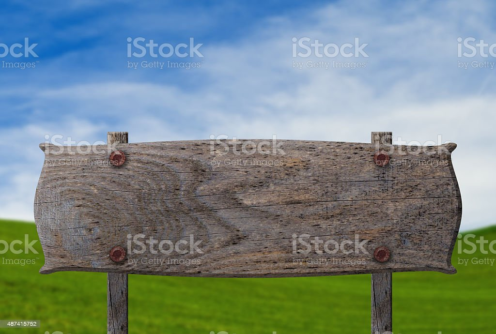 Empty Rustic Sign on a farm or ranch stock photo