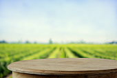 Empty rustic top wood table at gripening soybean field.