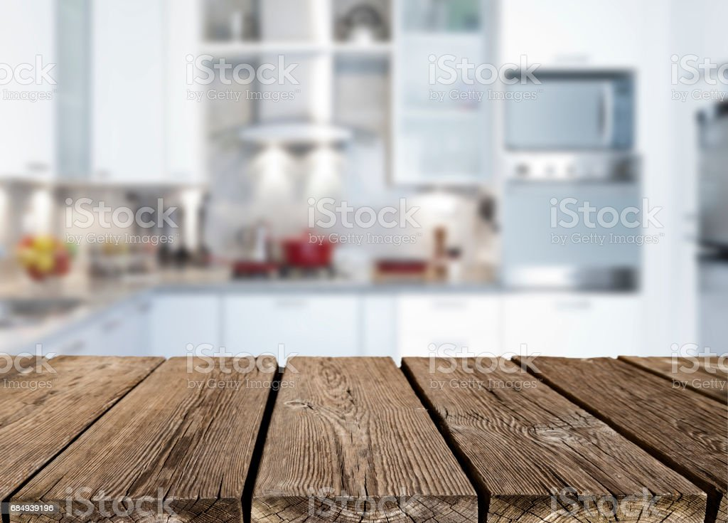 Empty Rustic Wood Kitchen Countertop Royalty Free Stock Photo