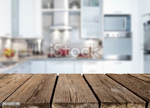 istock Empty rustic wood kitchen countertop 684939196