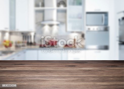 istock Empty rustic wood kitchen countertop 883020006