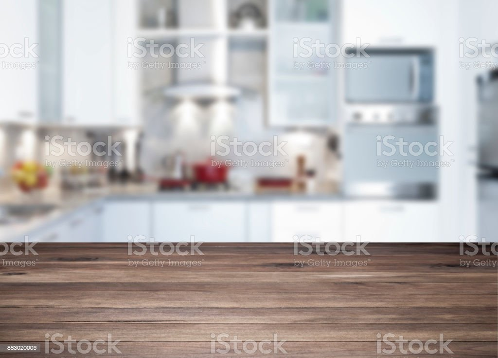 Empty rustic wood kitchen countertop stock photo