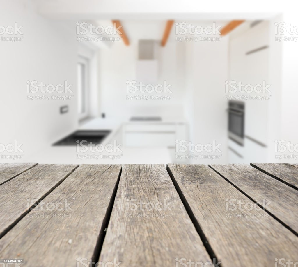 Empty Rustic Wood Kitchen Countertop Stock Photo & More Pictures of ...