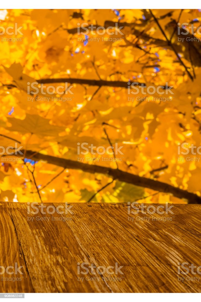 Empty rustic wood table top on colorful autumn leaves background in bright fall forest. Can montage or display your products stock photo