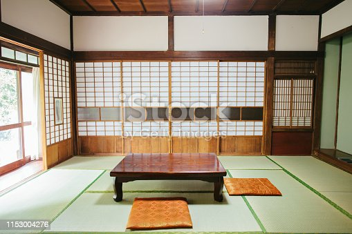 A wide-shot of an traditional empty ryokan room.