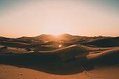Empty Sahara Desert Dunes in Beautiful Morning Sunrise Light with No People HQ