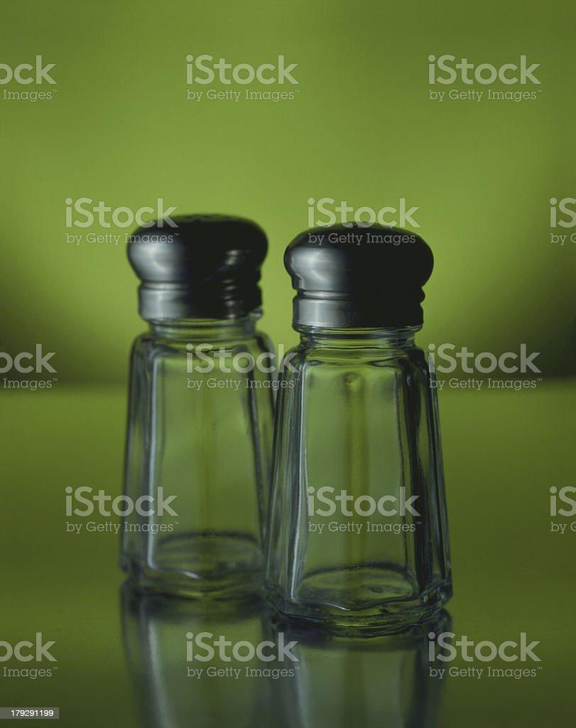 Empty salt & pepper shaker stock photo